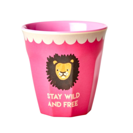 Rice Medium Melamine Cup with Fuchsia Lion Print