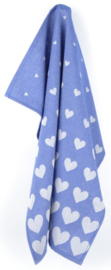 Bunzlau Tea Towel Hearts Royal Blue