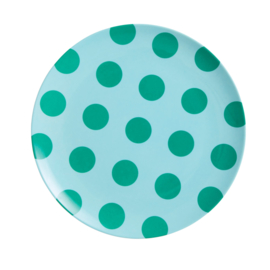 Rice Melamine Plate - Mint with Green Dots Print
