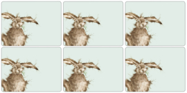 Wrendale Designs Set of 6 Hare Placemats -small size-