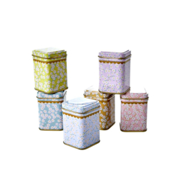 Rice Tin Spice Jars in Assorted Small Flower Prints - set van 6