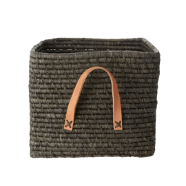 Rice Raffia Square Basket with Leather Handles - Dark Grey - kleur in werkelijk iets lichter