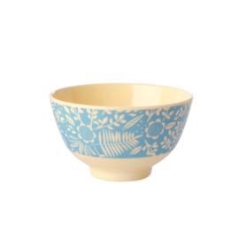 Rice Small Melamine Bowl - Blue Fern & Flower Print