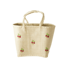 Rice Raffia Bag in Natural with Red Flowers Embroidy - Medium
