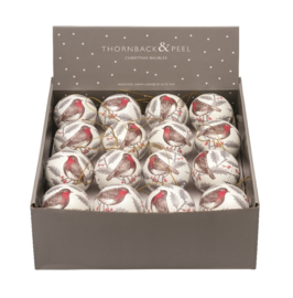 Thornback & Peel Robin & Holly Bauble Tin  -per stuk-