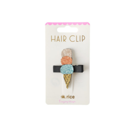 Rice Hair Clip with Ice Cream -Blue, Orange and Gold-