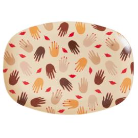 Rice Melamine Rectangular Plate - Hands and Kisses Print