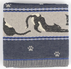 Bunzlau Tea Towel Cats Dark Blue