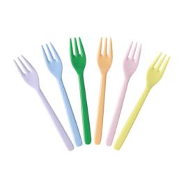 Rice Melamine Cake Forks - Assorted 'Let's Summer' Colors - Bundle of 6