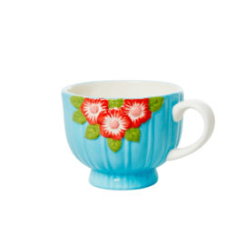 Rice Ceramic Mug with Embossed Mint Flower Design