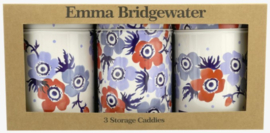 Emma Bridgewater Anemone Set of 3 Tin Caddies