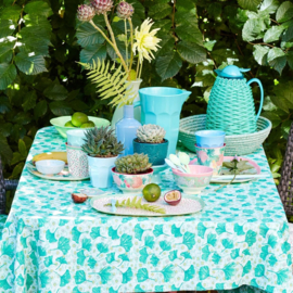 Rice Mint Leaves and Flower Printed Oilcloth
