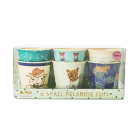 Rice Melamine Small Kids Cups - Assorted Farm Animals Prints - Green - 6 pcs
