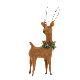 Sass & Belle Woodland Deer with Wreath Felt Decoration