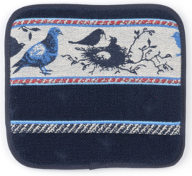 Bunzlau Kitchen Pot Holder Birds Dark Blue