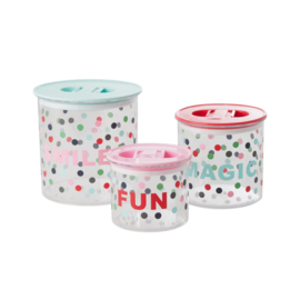 Rice Plastic Food Boxes with 'Believe in Red Lipstick' Dots Print - Set of 3 - Airtight Lid