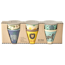 Rice Small Melamine Cup - Two Tone - Assorted Jungle Print Prints - 6 pcs.