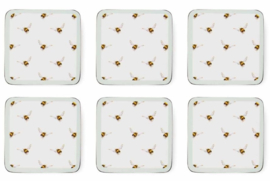 Wrendale Designs Set of 6 Square Bee Coasters