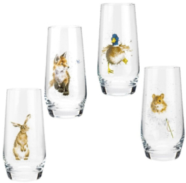 Wrendale Designs Assorted Country Animals Hi-Ball Glasses -Set of 4-