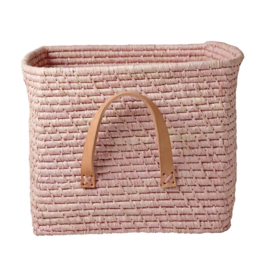 Rice Raffia Square Basket with Leather Handles - Soft Pink - de werkelijke kleur is echt roze