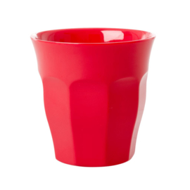 Rice Solid Colored Medium Melamine Cup in Red Kiss