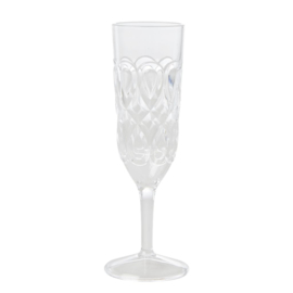 Rice Acrylic Champagne Glass with Swirly Embossed Detail - Clear