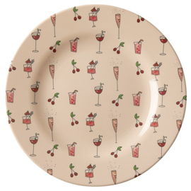 Rice Melamine Side Plate with Pink Cocktail Print (bord met rand)