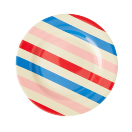 Rice Melamine Side Plate with Candy Stripes Print -bord met rand-