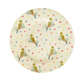 Rice Melamine Side Plate with Budgie Print -bord met rand-