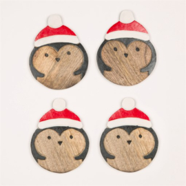 Sass & Belle Coasters -set of 4- Wooden Santa Hat Penguin