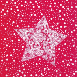 IHR Cocktail Napkins Christmas Lace Red