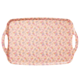 Rice Melamine Tray with Coral Tiny Florals Print