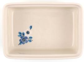 Bunzlau Butter Dish Blue White Love