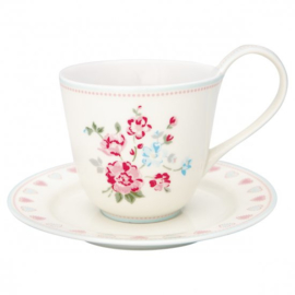 GreenGate Cup & Saucer Sonia white -stoneware-