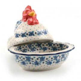 Bunzlau Chicken Large Blue White Love