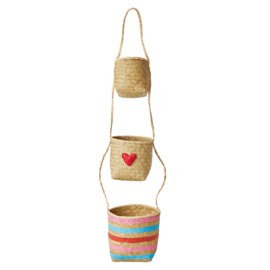 Rice Seagrass Hanging Storage Baskets with Hearts