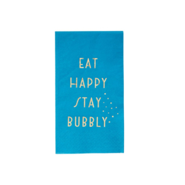 Rice 20 Paper Lunch Napkins with Gold Text 'Eat Happy Stay Bubbly' Blue