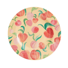 Rice Melamine Side Plate with Peach Print -bord met rand-