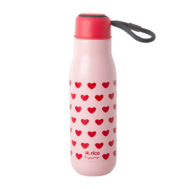Rice Isolating Drinking Bottle with Sweet Hearts print - RVS