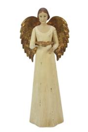 Meander Engel Antique met schaaltje gebroken wit -kandelaar-