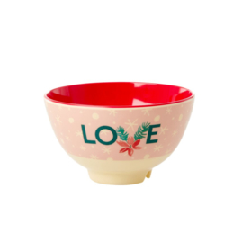 Rice Small Melamine Bowl - Love Xmas Print *vernieuwd model*