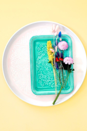 Rice Enamel Tray with Embossed Details - Aqua / Green