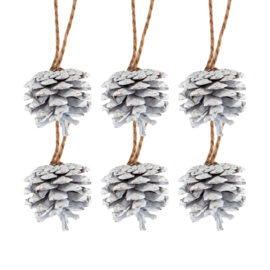 Sass & Belle Christmas Decoration Snowy White Pinecone -Set of 6-