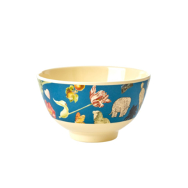Rice Small Melamine Bowl - Blue Art Print