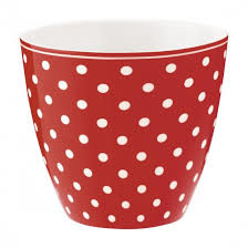 GreenGate Latte Cup Spot red -stoneware-