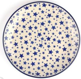 Bunzlau Plate 25,5 cm White Stars