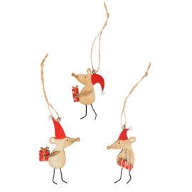 Sass & Belle Christmas Mice Wooden Hanging Decoration Assorted -Set of 3-