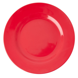 Rice Melamine Round Dinner Plate in Red Kiss