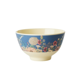 Rice Small Melamine Bowl - Two Tone - Flower Collage Print