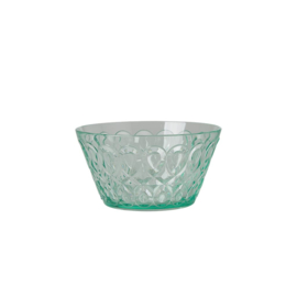 Rice Acrylic Bowl with Swirly Embossed Detail - Pastel Green - Small